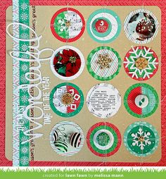 Lawn Fawn - Snow Day Collection + Flair, Snowflake Wood Veneer, Circle Stackables Lawn Cuts, Let it Snow _ scrapbook page by Melissa for Lawn Fawn Design Team