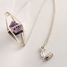 Octahedron necklace silver raw Amethyst Diana Parés Raw Amethyst, Geometric Jewelry, Silver Necklaces, Diana, Arrow Necklace, Jewels, Fashion, Moda, Jewerly