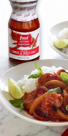 Thai-style sweet and spicy chili sauce and shrimp will be a new go-to dinner! Find this Food Network Kitchen Inspirations cooking sauce at your go-to grocery store. Fish Recipes, Seafood Recipes, Asian Recipes, Chicken Recipes, Healthy Recipes, Asian Foods, Recipies, Top Recipes, Drink Recipes