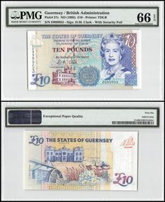 Paper Money: Guernsey 10 Pounds, Nd 1995, P-57C, Unc, Queen Elizabeth Ii (Qeii), Pmg 66 Epq BUY IT NOW ONLY: $69.99
