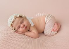 Sweet baby Holly slept so good at her session!  Lace bonnet & pant set: Baby Portrait Prop Shop  © Full Feather Photography  #tulsanewbornphotographer #newbornportraits #babyphotographer #newbornbonnet