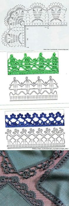 If you looking for a great border for either your crochet or knitting project, check this interesting pattern out. When you see the tutorial you will see that you will use both the knitting needle and crochet hook to work on the the wavy border. Crochet Boarders, Crochet Edging Patterns, Modern Crochet Patterns, Crochet Lace Edging, Crochet Diagram, Lace Patterns, Crochet Designs, Crochet Trim, Crochet Cord