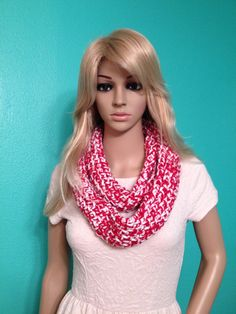 Christmas red and white knitted infinity scarf, by Beckysscarfshop, $18.00