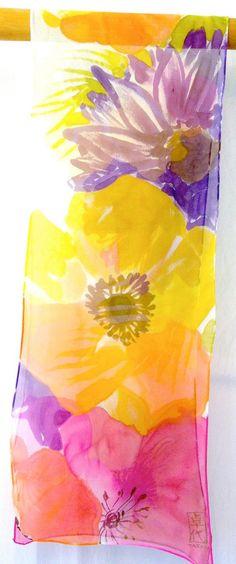 Scarf Gift for Wife Posh Flower Scarf Rainbow Flowers Scarf