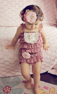 baby Petti Romper..baby girl petti romper...fall Dusty rose petti romper..photography prop...tea party