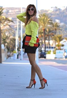 FOREVER FLUOR  , Zara in Sweaters, H in Skirts, H in Clutches, Zara in Gladiators