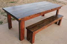 7' all wood, distressed, farmhouse table with bench. www.carpenterjames.com
