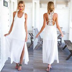 verano vestido de fiesta elegante boho crochet encaje blanco vestidos maxi larga