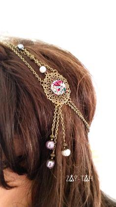 headband personnalisable , accessoire coiffure bijoux de tête vintage bronze perles cabochon : Accessoires coiffure par zay-tah