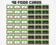 Free Printable Minecraft Food Tent Cards