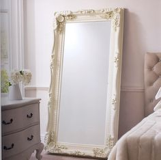 Off white ornate mirror, perfect for bedroom or over mantle
