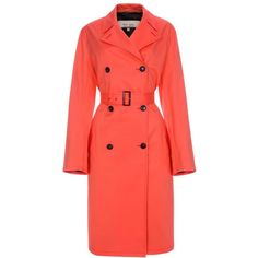 Paul Smith Women's Coral Cotton Trench Coat ($1,070) ❤ liked on Polyvore featuring outerwear, coats, red trench coat, red trenchcoat, red coat, cotton trench coat and red waist belt