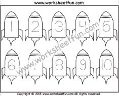 Number Tracing – – Rocket – One Worksheet / FREE Printable Worksheets – Worksheetfun Printable Preschool Worksheets, Kindergarten Worksheets, Free Printables, Tracing Worksheets, Numbers Preschool, Free Preschool, Preschool Activities, Writing Numbers, Alphabet And Numbers