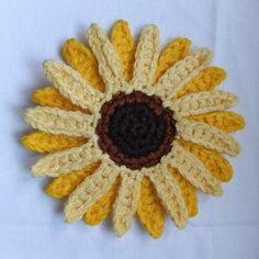 Free Crochet Pattern: Giant Sunflower | AllFreeCrochet.com Visit me at www.rachelhall.origamiowl.com and #joinmyteam today! #diy #gift