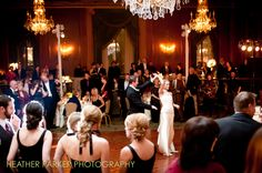 First dance at the Chicago InterContinental downtown with Cagen Music. The bride is wearing a vintage gown.