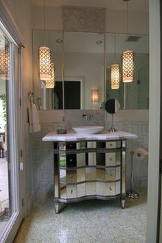 Transitional space with a unique look - contemporary - bathroom - san diego - Amy Newman Lauffer, CID, LEED AP