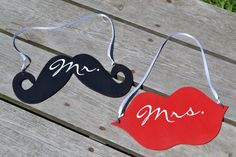 Mr. and Mrs. Mustache and Lips- Wedding decoration- Chair hanging- Reception decor. $11.00, via Etsy.