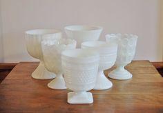 Milk Glass Planter Collection Set of 6 Milk by CobblestonesVintage