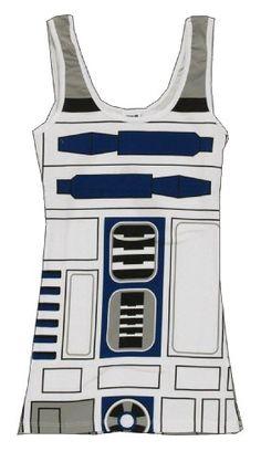 Juniors Space Opera Film Star Wars R2-D2 Robot White Costume Tank Top Shirt