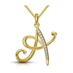 Kataria Jewellers Letter A Gold Plated 92.5 Sterling Silver and Swarovski…
