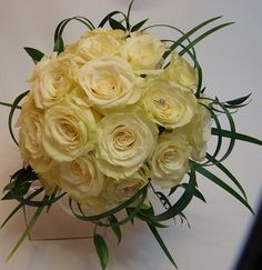 Bridal Bouquet, artistic, ivory, white roses. www.plushflowers.ca