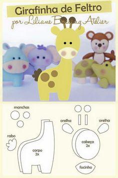 31 ideas doll felt pattern diy for 2019 Felt Animal Patterns, Stuffed Animal Patterns, Baby Crafts, Felt Crafts, Bebe Love, Giraffe Pattern, Baby Mobile, Felt Baby, Felt Toys