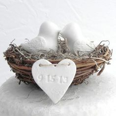 Rustic Wedding Cake Topper - White Love Birds in Nest - Personalized Heart - could make good wedding favors Wedding Favors, Our Wedding, Wedding Cakes, Wedding Decorations, Wedding Ideas, Wedding Invitations, Wedding Wishes, Wedding Gifts, Wedding Venues