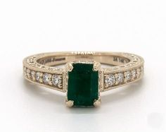 Emerald Cut Green Emerald, Lacey Vintage Pave Engagement Ring in Yellow Gold by James Allen® Green Engagement Rings, Emerald Wedding Rings, Alternative Engagement Rings, Designer Engagement Rings, Vintage Engagement Rings, Vintage Rings, Emerald Jewelry, Yellow Gold Rings, Fashion Rings