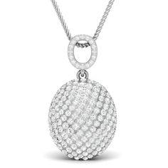0.79 Carat Natural Diamond Drop Cluster Egg Pendant Necklace 14k White Gold #Vijisan #Pendant #ChristmasMemoriaBlackFridayDayValentineDay