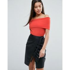 ASOS Off Shoulder Top With Deep Fold In Rib (€21) ❤ liked on Polyvore featuring tops, orange, orange top, asos, ribbed off the shoulder top, stretchy tops and ribbed top