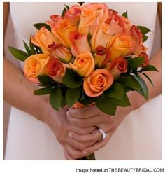 Fall Bridal Bouquet Orange Terracota Roses