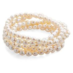 Freshwater Seed Pearl Bracelet Set Strand/Chain Bracelets ($85) ❤ liked on Polyvore featuring jewelry, bracelets, chains jewelry, pearl bangle, matte gold jewelry, pearl jewelry and catherine canino jewelry