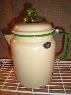 Antique Enamelware Cream  Green Percolator by LittleBootsAntiques, $59.00