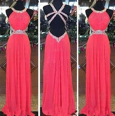New Arrival Sexy Backless Prom Dress,Chiffon Prom Dresses,Long