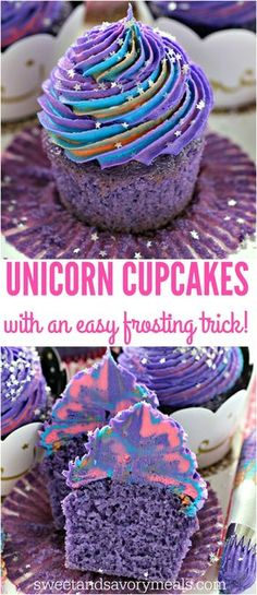 Unicorn Cupcakes are astonishingly pretty, delicious and also easy to make. Perfect for themed parties, these are meant to be a hit with everyone. #unicornparty #cupcakes #purple #unicorn #purplecupcakes | ChicChicFindings.etsy.com