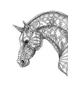 9 free pages decorative horse profile for print with shade free printable coloring pagesadult