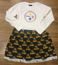 Black and Gold Girls Steelers long sleeved t-shirt Party Dress size 10/12