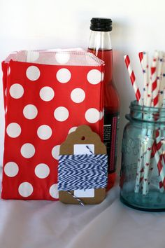 Treat bag, candy bag, cookie bag in red and white polka dot, Red and white bitty bag, Red and white polka dot party bag on Etsy, $2.40