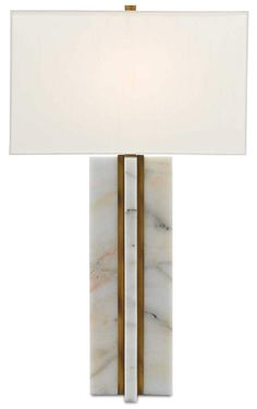 Currey and Company Marble / Antique Brass Khalil Single Light High Buffet Table Lamp with Shantung Shade Buffet Table Lamps, Brass Table Lamps, Marble Lamp, Slab Table, Lamp Design, Lighting Design, Light Table, Mid-century Modern, Contemporary