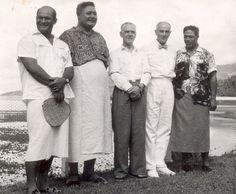 From left: Western Samoa's first Prime Minister, the Hon. Fiame Mata'afa; Tupua Tamasese; Minister of Island Territories Hon J Mathieson; the High Commissioner for Western Samoa Mr GR Powles; and Hon Malietoa Tanumafili.
