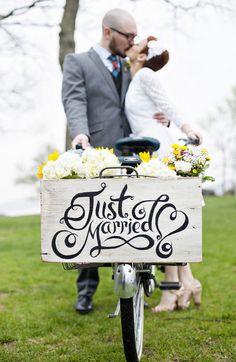Great sign. Kari and Duncan's 12 guest $2,500 DIY Backyard Wedding. Photos by De Nueva Photogaphy
