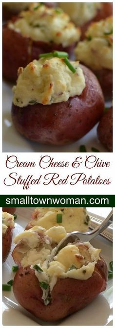 Cream Cheese and Chive Stuffed Red Potatoes can be prepared ahead of time, stored in the fridge and popped in the oven at the precise time. Leaving your loved ones or guests with such creamy goodness that they are going to be singing your praises.  Cream Cheese and Chive Stuffed Red Potatoes
