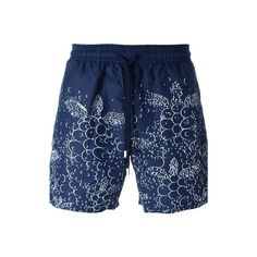 VILEBREQUIN Floral Print Swim Shorts ($195) ❤ liked on Polyvore featuring men's fashion, men's clothing, men's swimwear, blue and vilebrequin mens swimwear