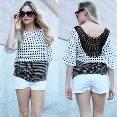 🆕The NEVEAH triangle print top - WHITE BLACK-WHITE TRIANGLE PRINT WITH HALF LOSE SLEEVE & CROCHET TRIM BACK TOP. Fabric:SOLID KNIT-96% POLYESTER 4% SPANDEX. ‼️️NO TRADE‼️ Bellanblue Tops
