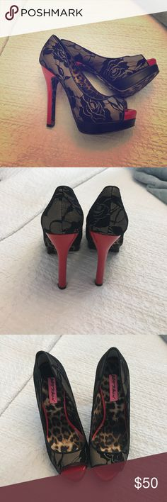 Betsy Johnson Samantaa Heels Worn only once! Lace, Black and red heels. They are super sexy. Will send with the original box. Betsey Johnson Shoes Heels