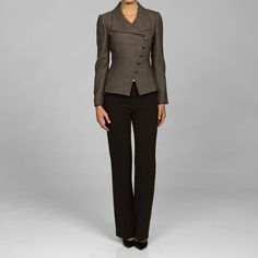 This stylish Tahari pant suit features a wool jacket with an asymmetrical button-front closure and small brown and beige print. The classic flat-front slacks complete this elegant suit.