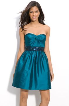 gorgeous peacock blue bridesmaid dress.  peacock blue may be the best choice for my bridesmaids.  it looks good on everyone.  Adrianna Papell Beaded Strapless Taffeta Party Dress available at Nordstrom