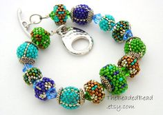 Bracelet Sale 30% off beaded beads peacock turquoise blue green