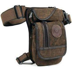 New Men'S Canvas Drop Leg Bag Waist Fanny Pack Belt Hip Bum Military Travel Motorcycle Multi-Purpose Messenger Shoulder Bags