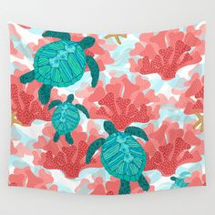 Sea Turtles in The Coral - Ocean Beach Marine Wall Tapestry